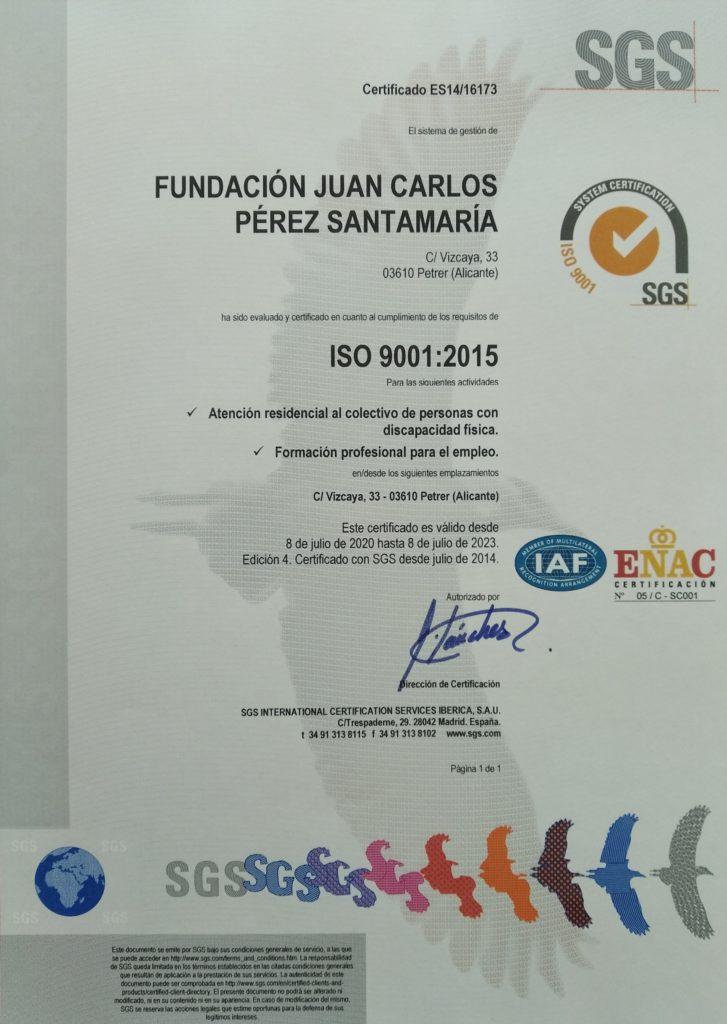 Certificado de Calidad - Fundación JCPS